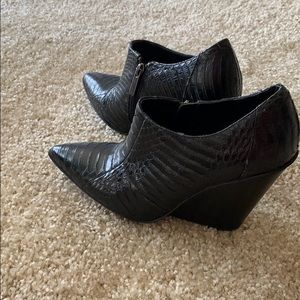 Kenneth Cole Reaction snake leather booties.